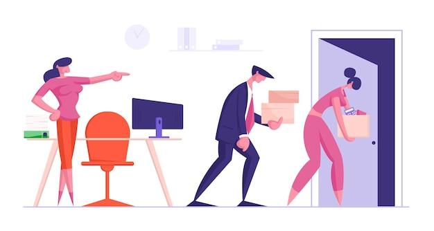 Homem e mulher de negócios tristes despedidos carregam grande pilha de arquivos de documentos em caixas, saindo do escritório