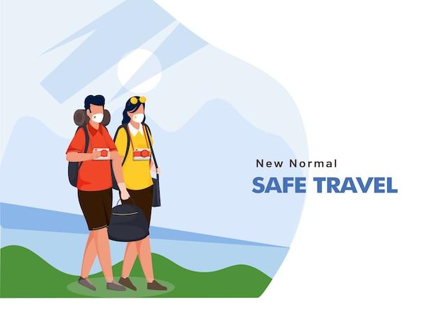 Homem e mulher de turista de desenho animado usam máscaras de proteção com bolsas