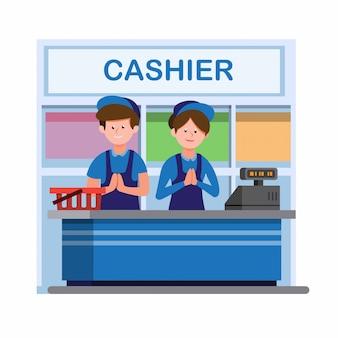 Homem e mulher de uniforme trabalhando no balcão de caixa na loja de conveniência ou supermercado na ilustração plana dos desenhos animados, isolada no fundo branco