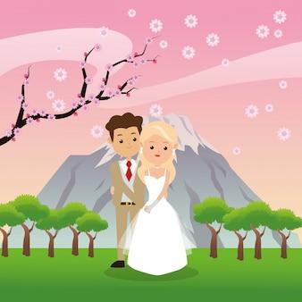 Homem e mulher desenhos animados ícone casal sobre a paisagem