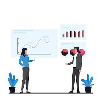Homem e mulher discutem sobre como apresentar a metáfora infográfico de informações de dados.