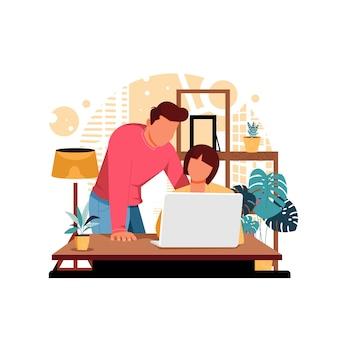 Homem e mulher discutindo ilustração no trabalho