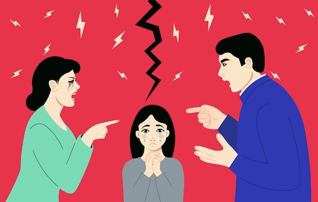 Homem e mulher discutindo sobre o fundo rasgado