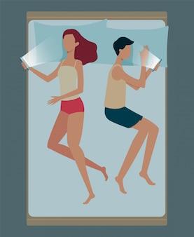 Homem e mulher dormindo posições ilustração plana sobre fundo azul.