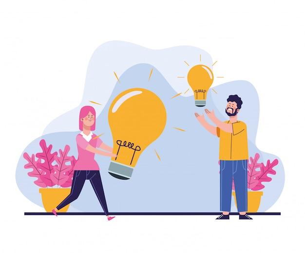 Homem e mulher dos desenhos animados com grandes lâmpadas