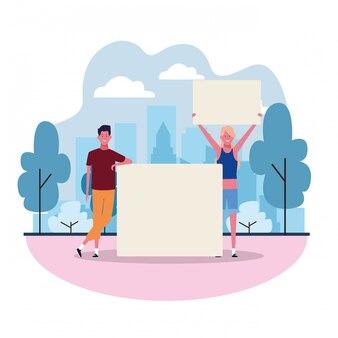 Homem e mulher dos desenhos animados com letreiro em branco