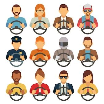Homem e mulher drivers ícones planas. condução homem correio ou operador