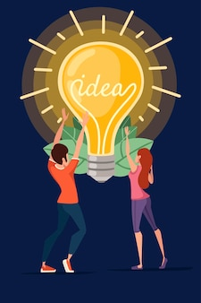 Homem e mulher e lâmpada incandescente amarela retro com ilustração vetorial conceito idea