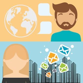 Homem e mulher e-mail mensagem envelope cidade fundo banner