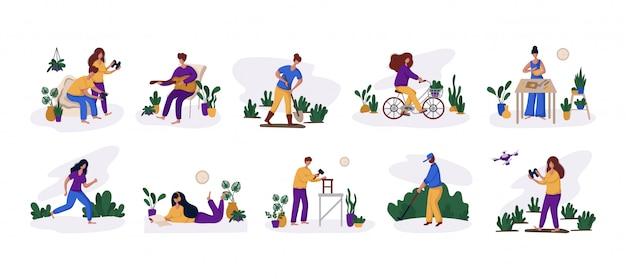 Homem e mulher e seu hobby ou atividade diária