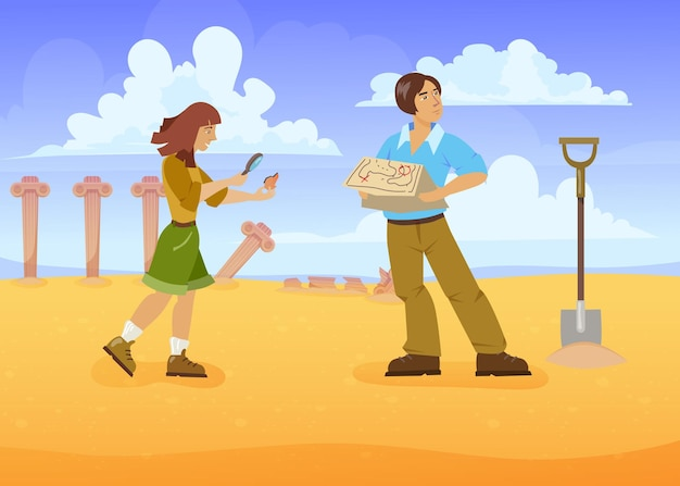 Homem e mulher em busca de tesouros. ilustração vetorial de desenho animado