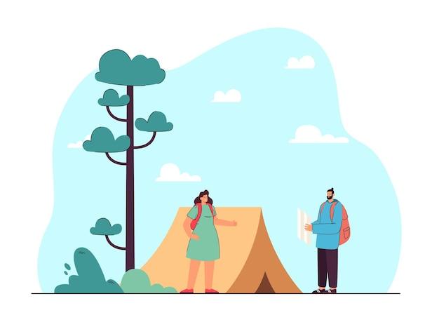 Homem e mulher em ilustração plana de caminhada