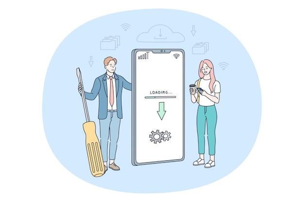 Homem e mulher em pé perto de uma tela grande de smartphone