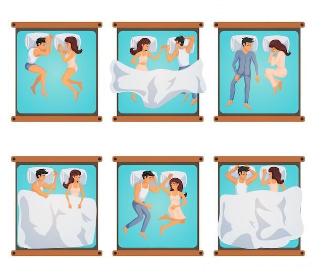 Homem e mulher em poses de dormir