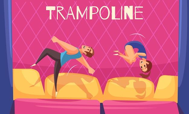 Homem e mulher em trampolins de salto