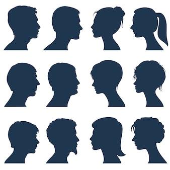 Homem e mulher enfrentam silhuetas de vetor de perfil