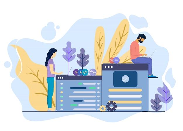 Homem e mulher estão desenvolvendo o conceito de ilustração de sites