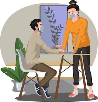Homem e mulher estão discutindo um projeto de trabalho juntos