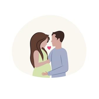 Homem e mulher estão esperando o nascimento da criança menina grávida e seu marido