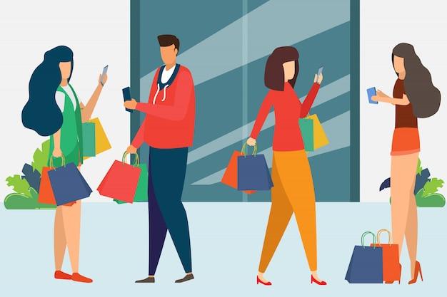 Homem e mulher estão fazendo compras.