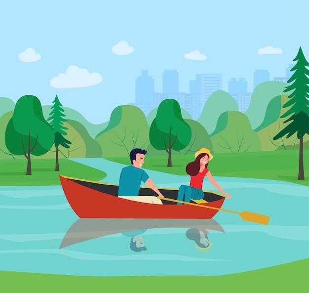 Homem e mulher estão navegando em um barco. ilustração em vetor plana
