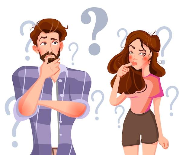 Homem e mulher estão pensando.