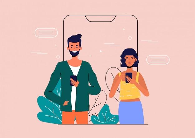 Homem e mulher falando nas mídias sociais para mencionar.