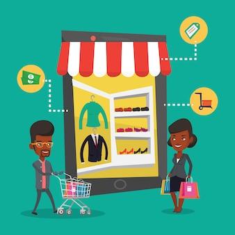 Homem e mulher fazendo compras on-line.