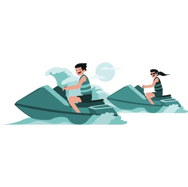 Homem e mulher fazendo corridas de jet ski no mar