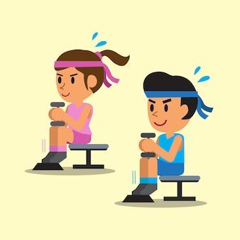 Homem e mulher fazendo exercícios de elevação da panturrilha sentados com halteres