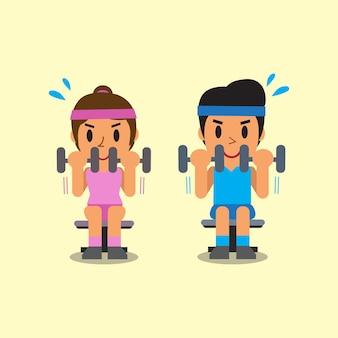 Homem e mulher fazendo exercícios de rosca direta com halteres