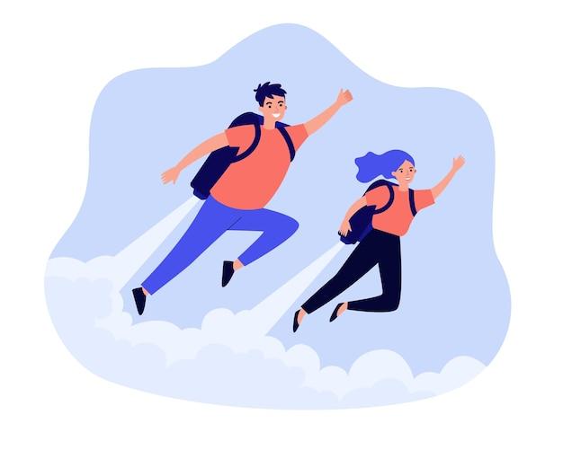 Homem e mulher felizes voando com jet pack
