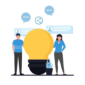 Homem e mulher ficam ao lado da metáfora do bulbo de compartilhamento de ideias.