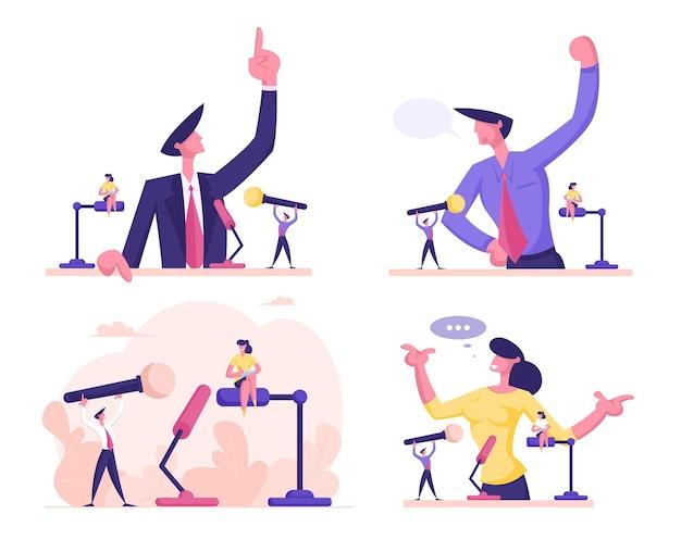 Homem e mulher ficam atrás do pódio com o microfone falando e o dedo indicador apontando para cima