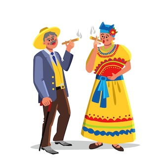 Homem e mulher fumando charuto cubano