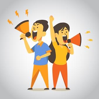 Homem e mulher gritando ilustração