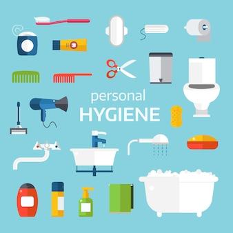 Homem e mulher ícones de higiene vector conjunto isolado no fundo