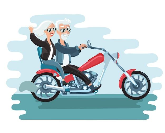 Homem e mulher idosa atraente e amigável andando de scooter