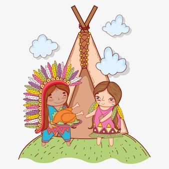 Homem e mulher indígena com a turquia e barraca de acampamento
