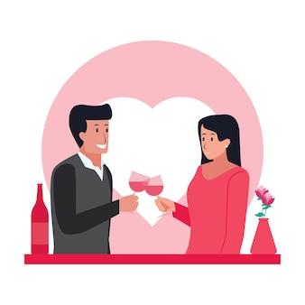 Homem e mulher jantar na noite do dia dos namorados.
