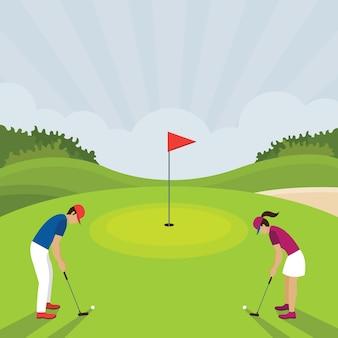 Homem e mulher jogando tacada de golfe, campo de golfe, no gramado