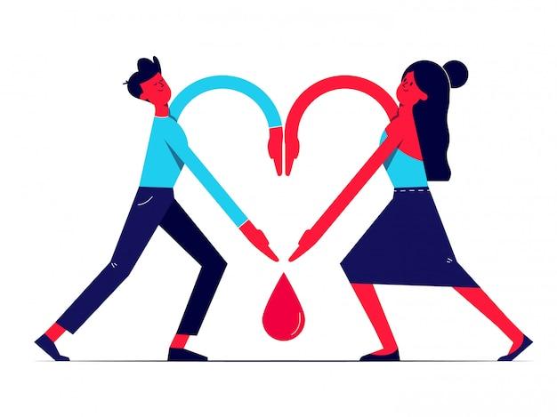 Homem e mulher juntos de mãos dadas em forma de coração e sangue caem entre eles. prestando respeito aos doadores, ajudando os médicos a salvar vidas humanas. dia mundial do dador de sangue comemorado anualmente em 14 de junho