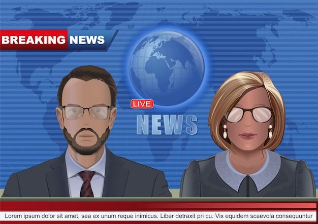 Homem e mulher levando notícias no estúdio de tv. projeto de conceito de bandeira de notícias de última hora. notícias ao vivo.