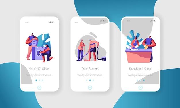 Homem e mulher limpando a casa. conjunto de tela integrada da página do aplicativo móvel