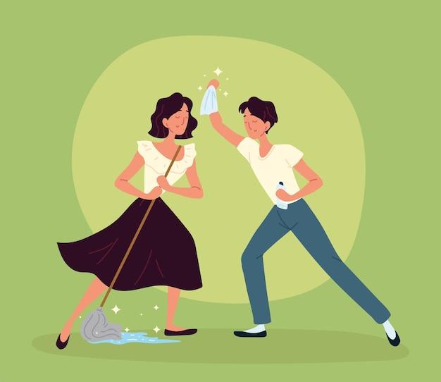 Homem e mulher limpando