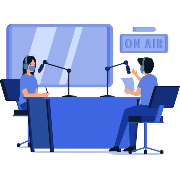 Homem e mulher mascarados estão fazendo uma transmissão de rádio juntos no estúdio de rádio