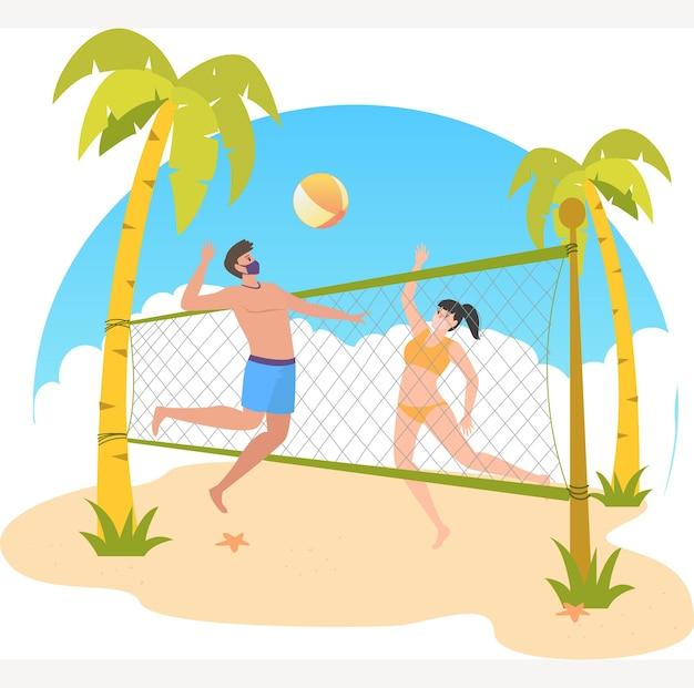 Homem e mulher mascarados estão jogando vôlei juntos na praia durante a ilustração do feriado