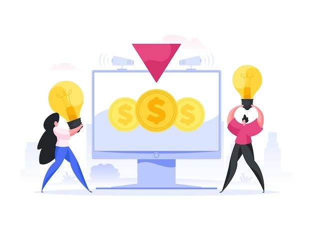 Homem e mulher modernos, apresentando e promovendo ideias criativas em pé perto do monitor do computador com moedas durante a campanha de crowdfunding online.