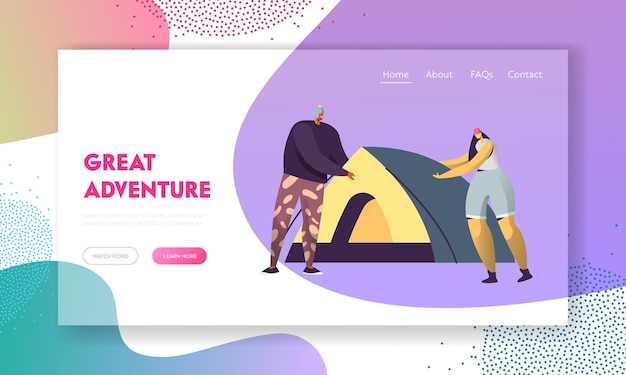 Homem e mulher montam barraca. personagens de turistas masculinos e femininos sparetime no acampamento na natureza. modelo de página de destino do site