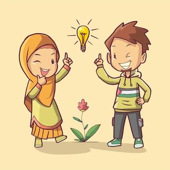 Homem e mulher mostram o gesto de uma grande ideia arte de ilustração desenhada à mão